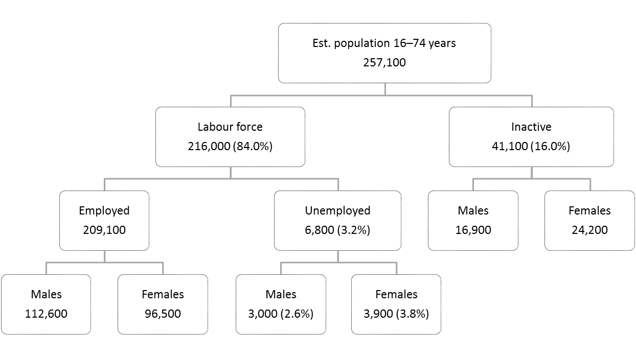 Flow Chart — Labour force 16–74 years — June 2019 measures.