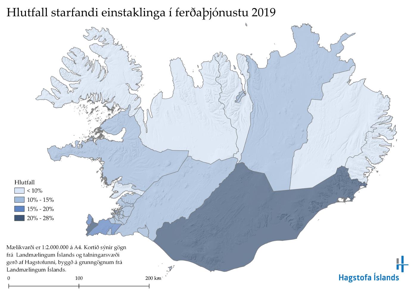Hlutfall starfandi einstaklinga í ferðaþjónustu 2019